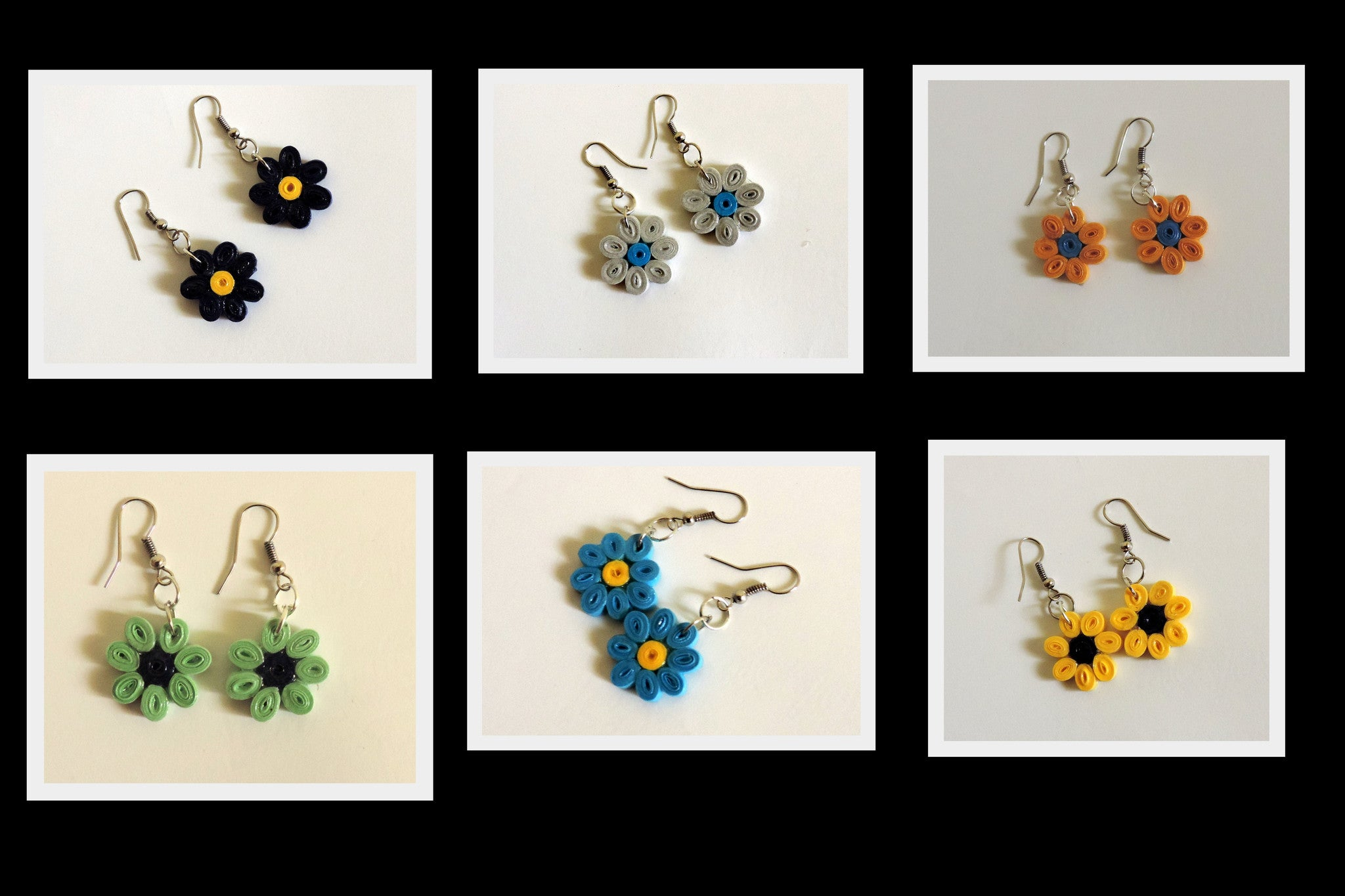 6 Flower earrings combo - Khushi Handmade Jewellery