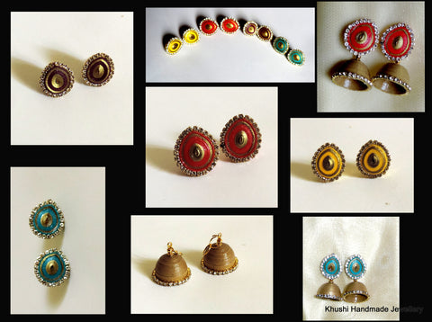 Interchangeable Stone edged Quilled Jhumkas