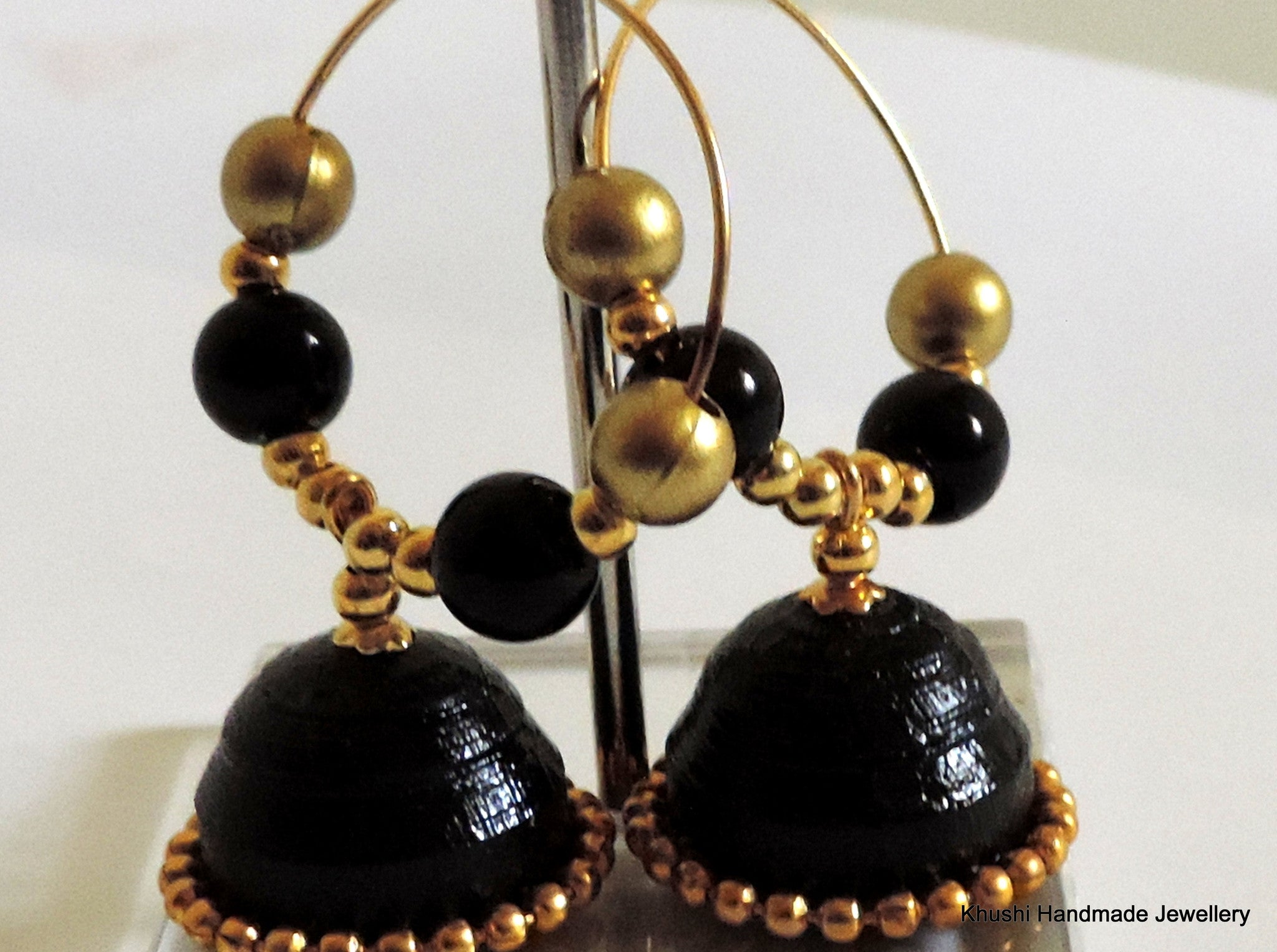 Jhumkas in black! - Khushi Handmade Jewellery
