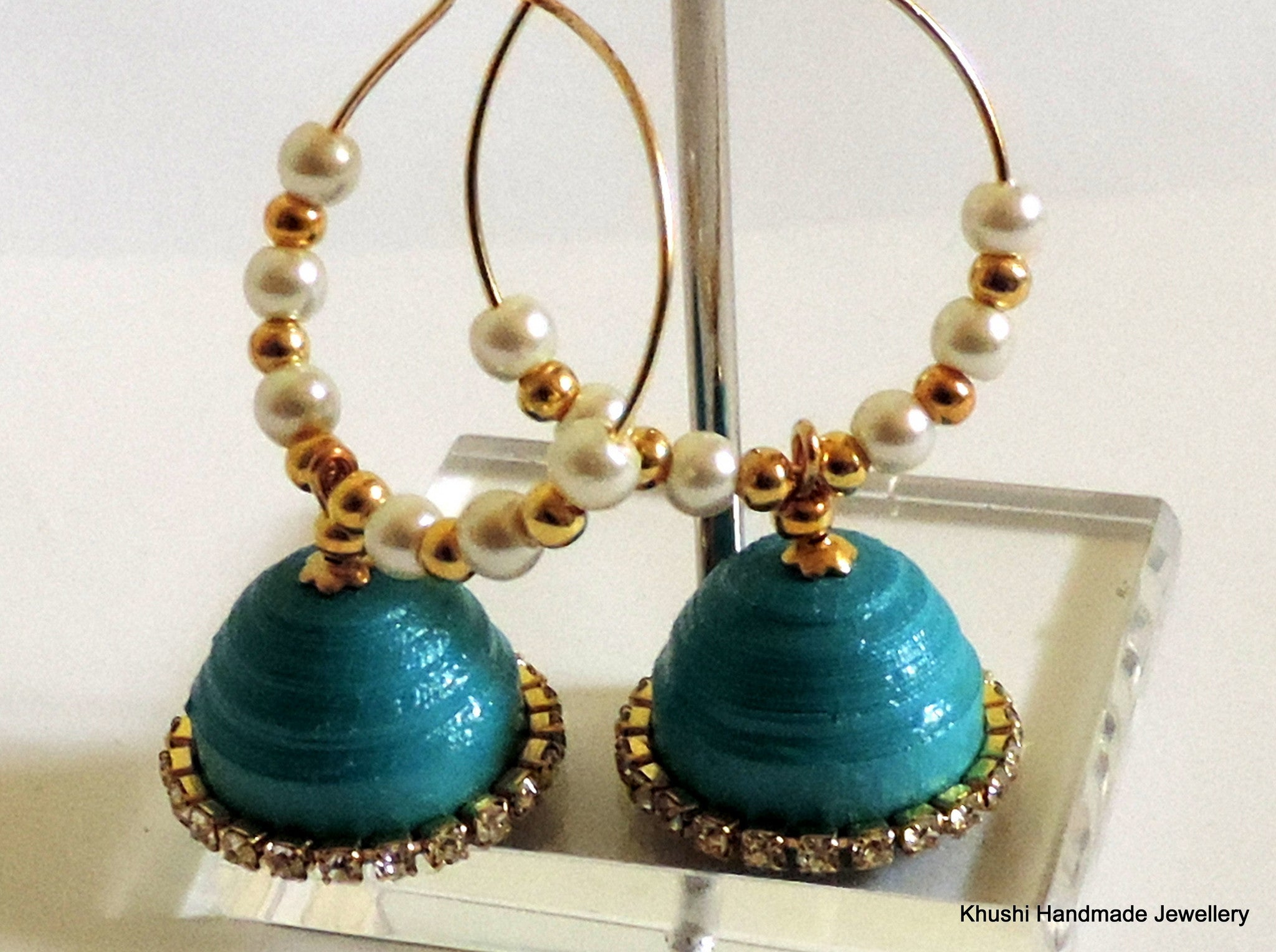 Blue Quillled Jhumkas