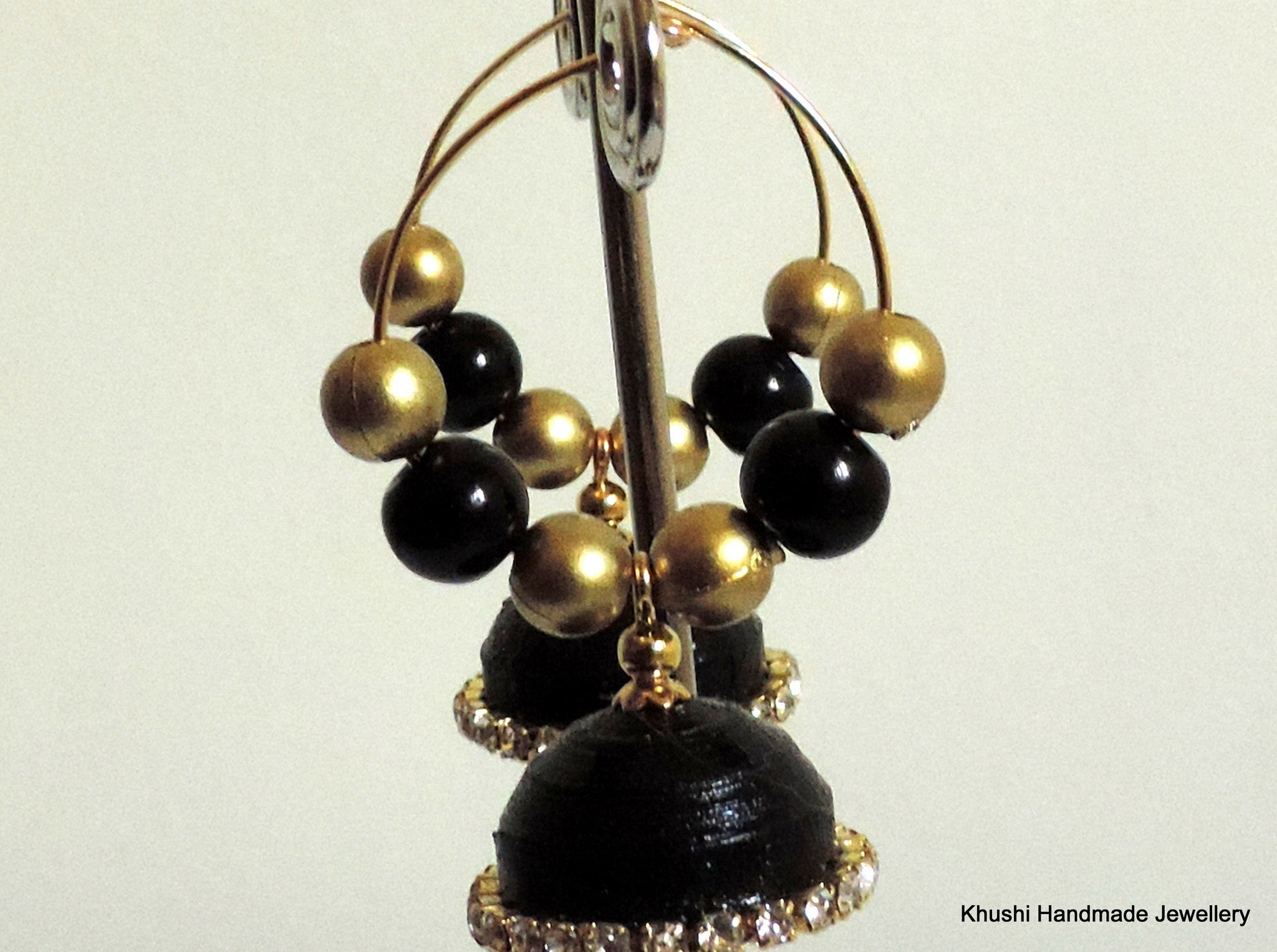 Jhumkas in black edged with white stone! - Khushi Handmade Jewellery
