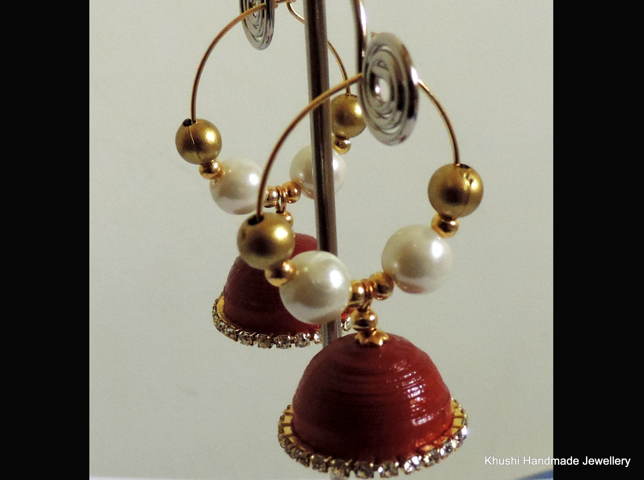 Jhumkas in red edged with white stone! - Khushi Handmade Jewellery