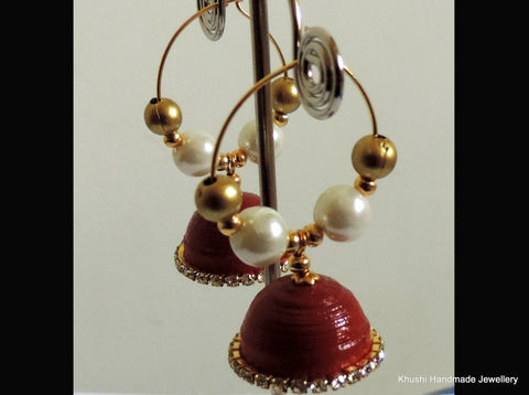 Jhumkas in red edged with white stone!