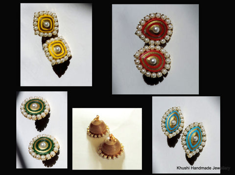 Interchangeable Pearl edged Jhumkas