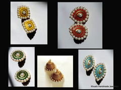 Interchangeable Pearl edged Jhumkas - Khushi Handmade Jewellery