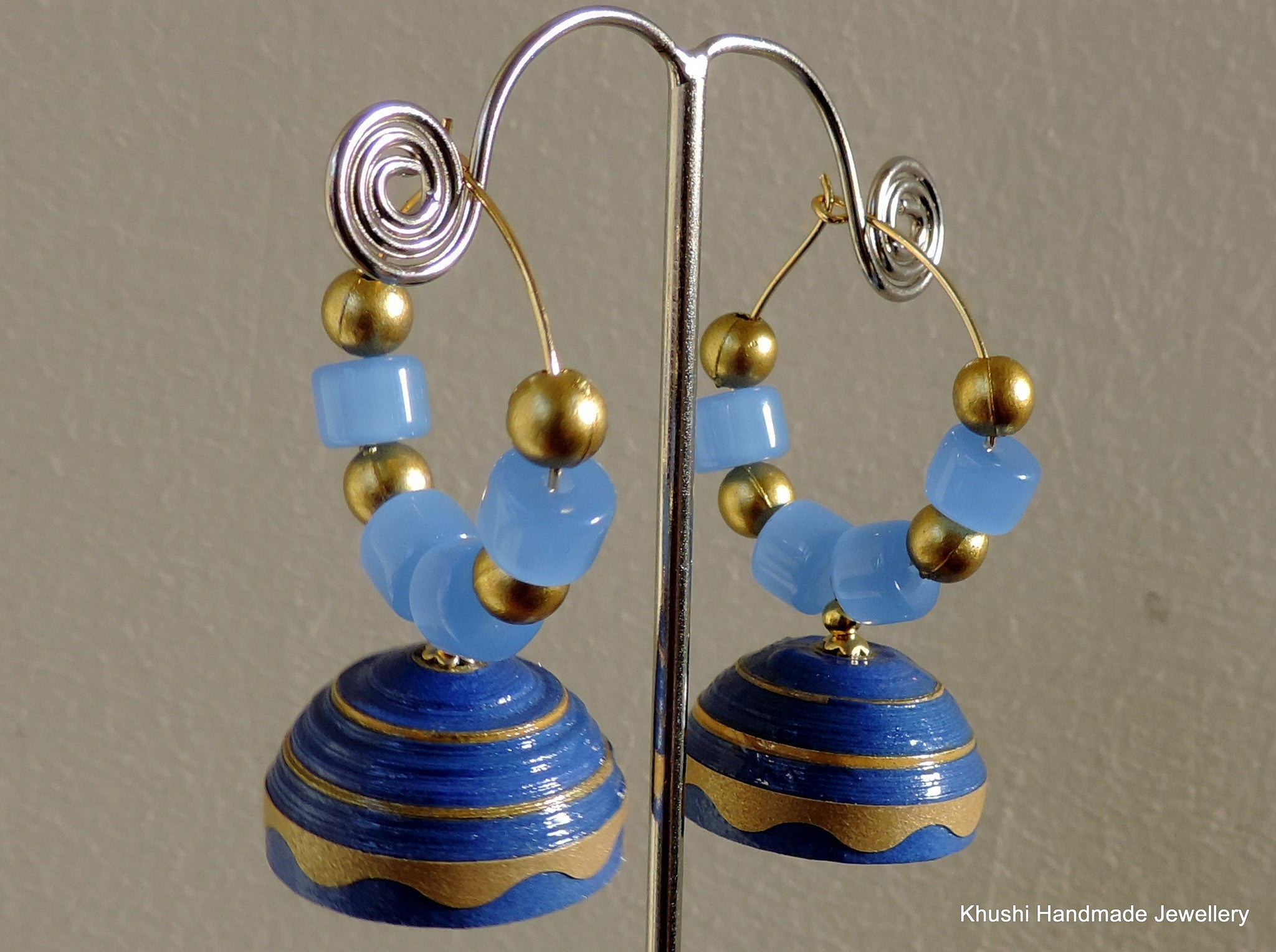 Blue and gold quilled jhumka - Khushi Handmade Jewellery