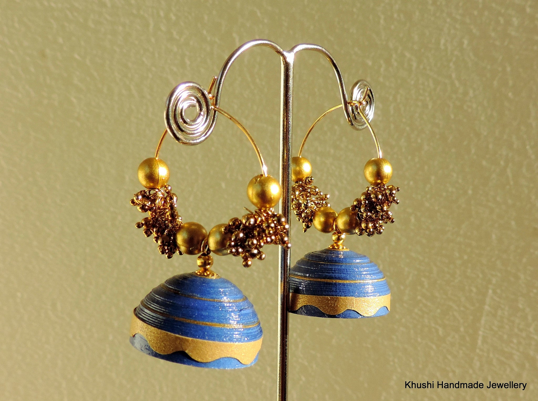 Blue and gold Jhumka - Khushi Handmade Jewellery
