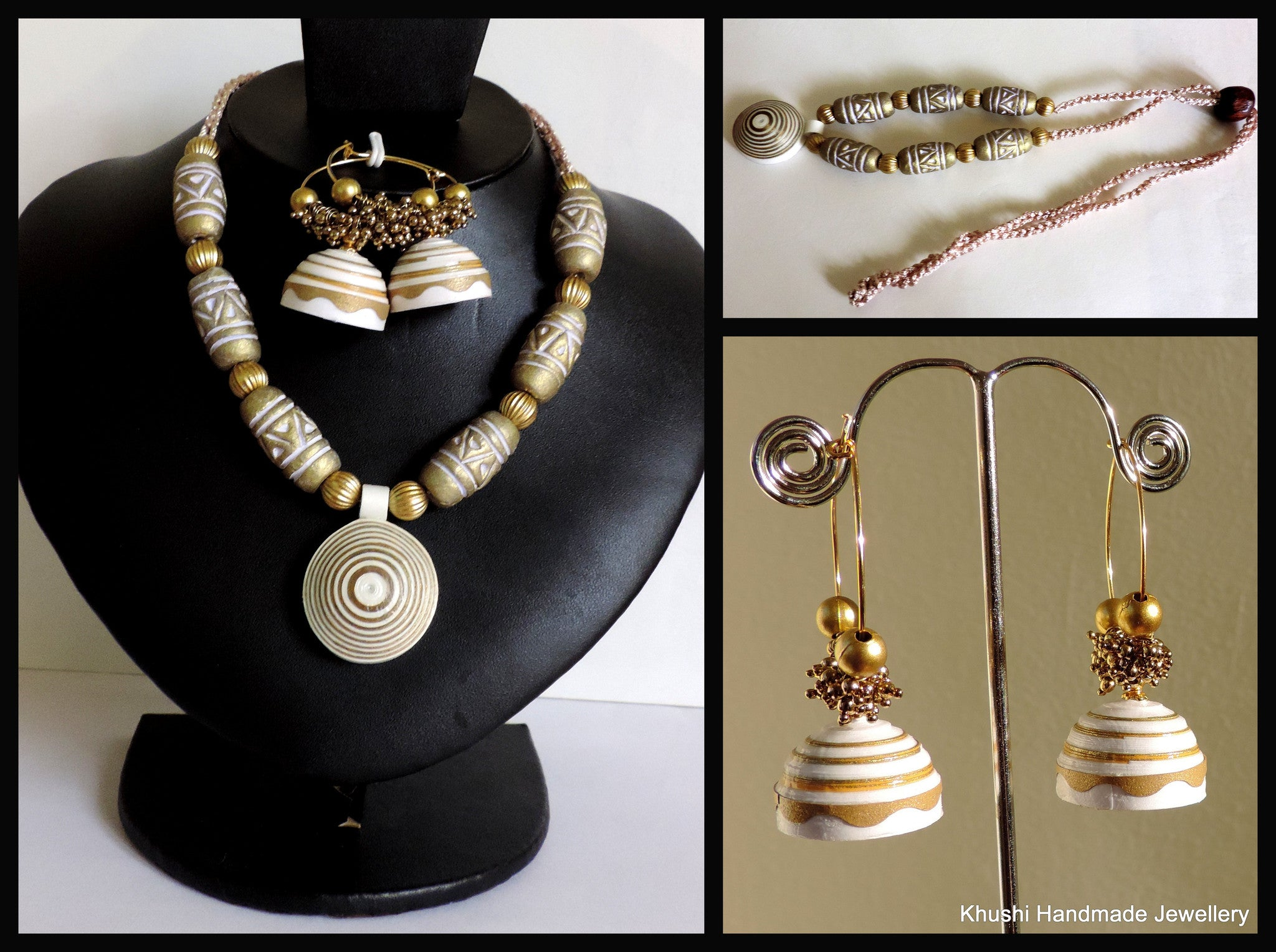 Classic Gold-White Necklace set - Khushi Handmade Jewellery
