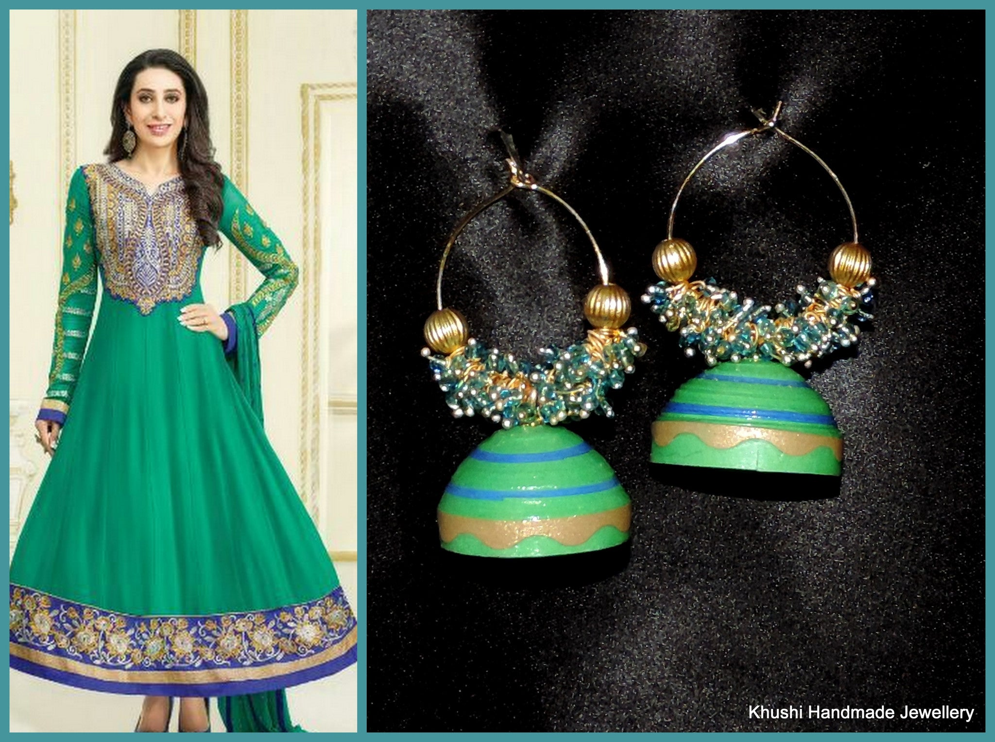 Green Blue hooped jhumka - Khushi Handmade Jewellery