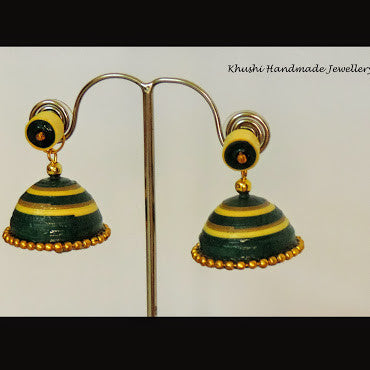 Yellow green jhumka with stud! - Khushi Handmade Jewellery
