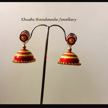 Yellow red jhumka with stud! - Khushi Handmade Jewellery