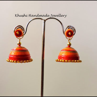 Orange red jhumka with stud! - Khushi Handmade Jewellery
