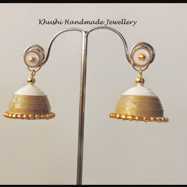 White gold jhumka with stud! - Khushi Handmade Jewellery