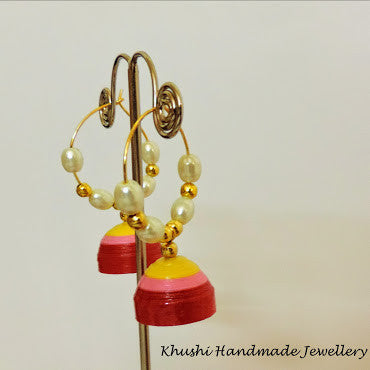 Yellow pink red Jhumka - Khushi Handmade Jewellery
