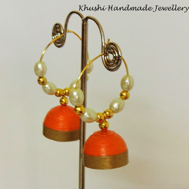 Orange Jhumka - Khushi Handmade Jewellery