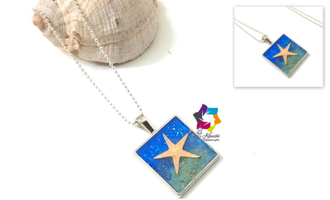 Resin Pendant necklace 5- Ocean collection