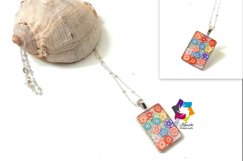Resin Pendant necklace 3-Flower collection