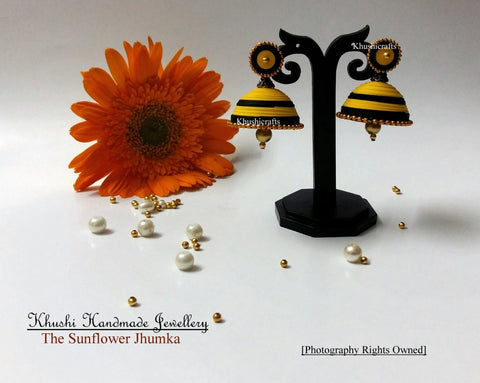 Sunflower Quilled Paper Jhumkas