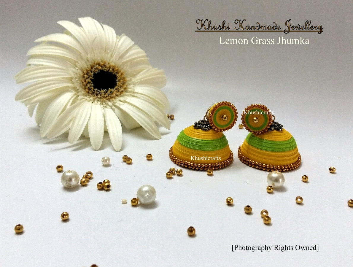 Lemon grass Quilled Jhumka - Khushi Handmade Jewellery