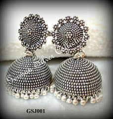 German Silver Oxidised Jhumkas
