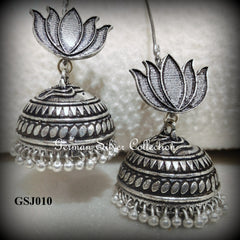 German Silver Jhumkas with Lotus stud