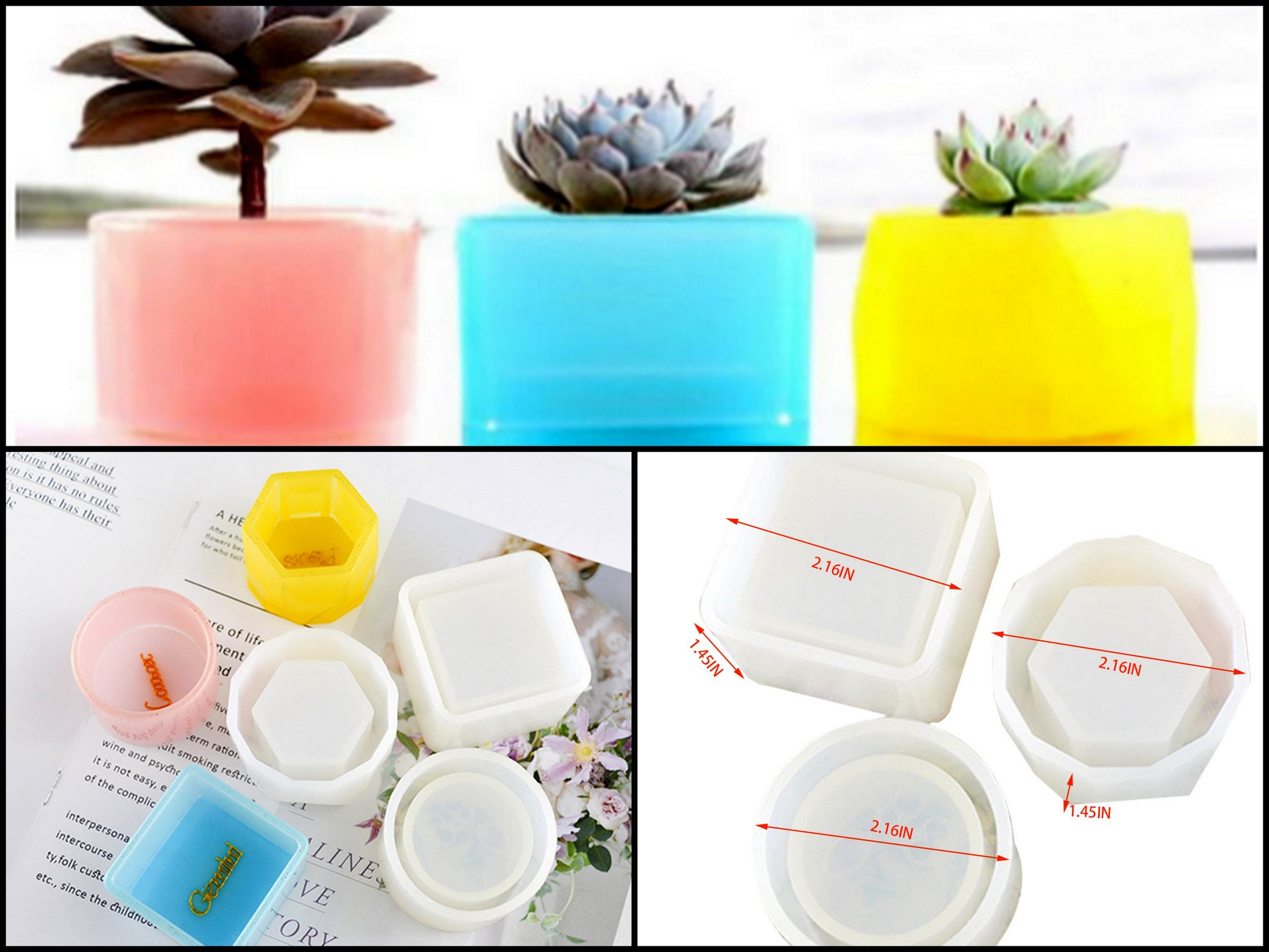 3 Pieces Flower Pot Plant holder combo Small Mould Silicone Mold for casting UV Resin,Epoxy resin and concrete
