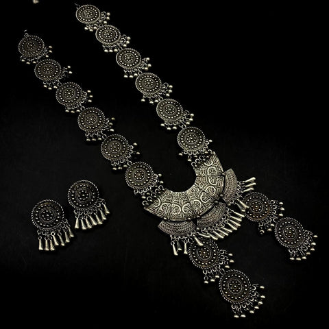 Silver look alike Oxidised German Silver Long haaram Necklace with Earrings!