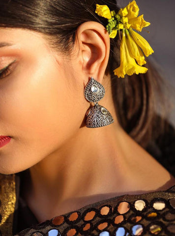 Designer Silver look alike Oxidised Brass based German Silver Jhumkas Pattern 2