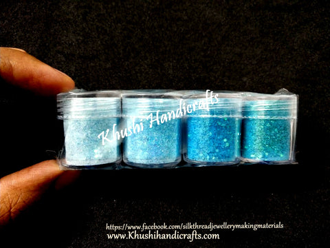 Blue shaded Glitter Powder For Resin Crafts ,Jewelry Mold Filling and Nail art.Pack of 4 bottles included!