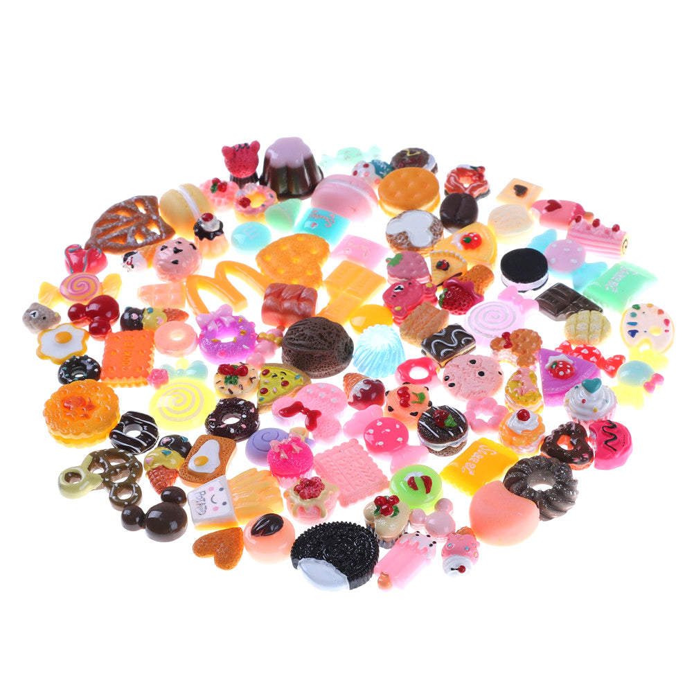 10 Assorted Food Cakes Donuts Biscuit Dollhouse Miniature Kitchen Decoration for Children play ,Resin Crafts