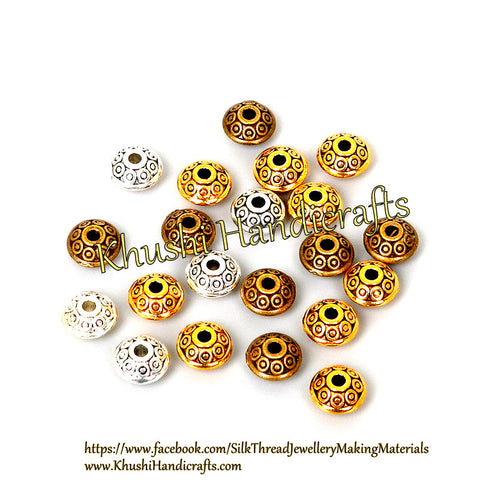 Designer Antique Gold Bronze and Silver circular spacer beads.Sold as a pack of 20 pieces -SP50