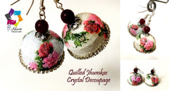 Crystal Decoupage Quilling jhumka