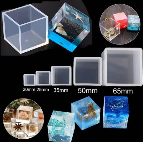 2 in 1  paper weight ,pen stand Cube Mould - Silicone Molds - Set of 5 Resin Moulds
