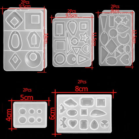 Set of 10 Designer Earring ,Pendant Geometrical Mould Silicone Mold Combo for casting UV Resin,Epoxy resin