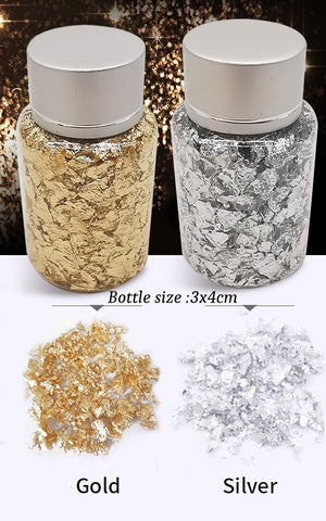 Gold / Silver Foil Flakes- Fillers For Resin Jewellery Crafts