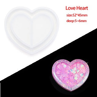 Heart Shaker Key Chain Charms Silicone Mold- DIY Jewelry Craft Tool