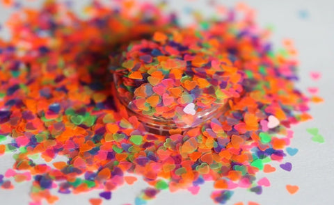 Neon Hearts Glitters For Nail Manicure/Resin /Candle Fillers For Jewellery Crafts and Nail Art