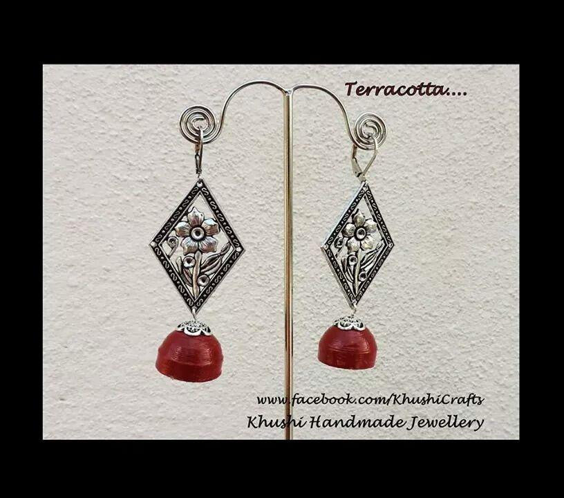 Terracotta red  jhumka - Khushi Handmade Jewellery