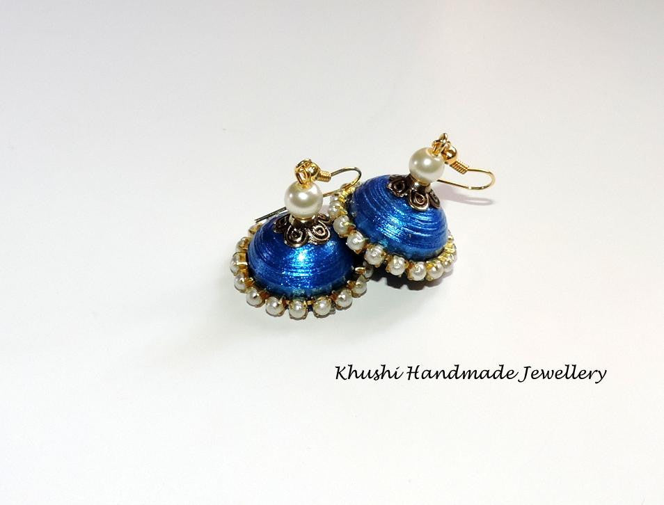 Blue pearl edged jhumkas - Khushi Handmade Jewellery