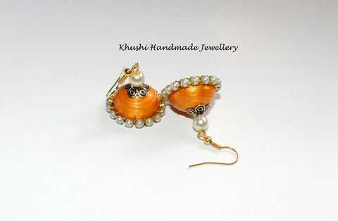 Desert gold pearl edged jhumkas