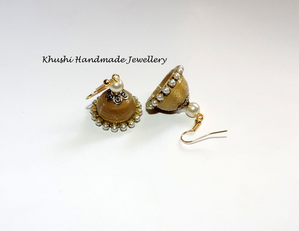 Gold pearl edged jhumkas - Khushi Handmade Jewellery