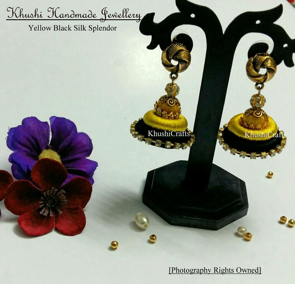 Yellow Black Silk Splendor - Khushi Handmade Jewellery