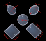 5 shapes Silicone Mold - Resin Molds For Pendant,Earring and key chain Making