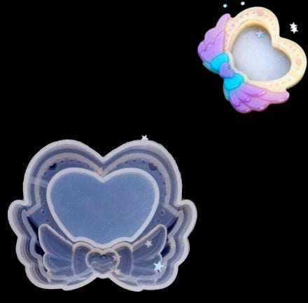 Heart Wings Shaker Key Chain Charms Silicone Mold- DIY Jewelry Craft Tool