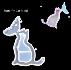 Butterfly cat Shaker Key Chain Charms Silicone Mold- DIY Jewelry Craft Tool