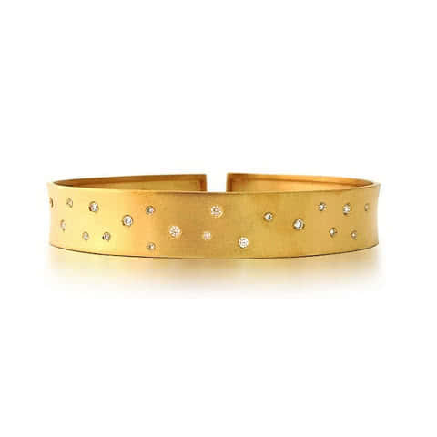 14ct Yellow Gold and Diamond Milano Cuff - Gemma Stone Jewellery