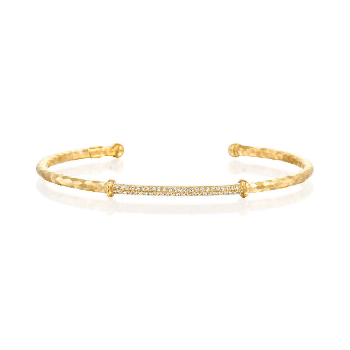 14ct Gold and Diamond Bar Cuff - Gemma Stone Jewellery