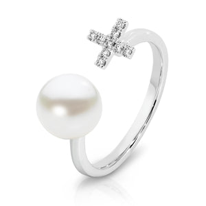 18ct Gold Diamond & Pearl 'Luella' Ring - Gemma Stone Jewellery