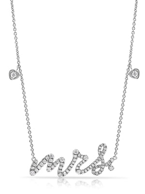 "18ct Diamond ""Mrs"" Necklace - Gemma Stone Jewellery"