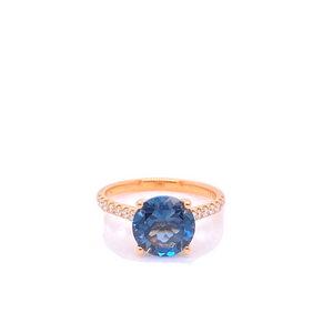 London Blue Topaz and Diamond 'Bedarra' Ring - Gemma Stone Jewellery